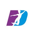 letter d shape dancing silhouette graphic vector image
