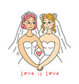 lgbt lesbian family concept wedding card lgbt vector image