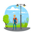 lineman icon for electrician profession design vector image
