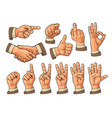 male and female hand sign fist like pointing vector image vector image