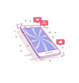 mobile phone icons of social networks the vector image