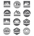 mountain icons set vector image vector image