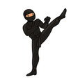 ninja in a black suit isolate on a white vector image