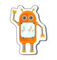 orange cheerful cartoon robot character vector image vector image