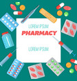 pharmacy poster with flat icons vector image