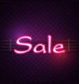 pink sale neon purple background image vector image