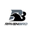 raven bird simple modern logo designs vector image