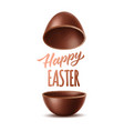 realistic chocolate egg 3d easter symbol vector image vector image