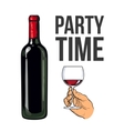Red wine bottle and hand holding a glass vector image