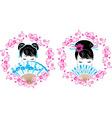 Sakura wreath with a portrait of Asian girl vector image vector image