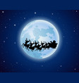 santa drove reindeer in the background of the moon vector image
