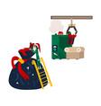 santa present bag christmas elf and gift conveyer vector image vector image