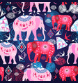 seamless bright print with decorative elephants vector image vector image