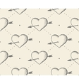 Seamless pattern with heart and arrow in vintage vector image vector image