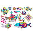 set decorative fishes mexican ceramic cute vector image