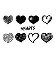 set hearts hand drawn isolated sketch on white vector image vector image