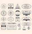 set of international visa stamps vintage travel vector image vector image