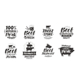 set of meat labels badges and icons vector image vector image