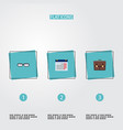 set of trade icons flat style symbols with glasses vector image