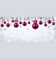 shiny banner with pink christmas balls vector image vector image