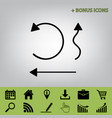 simple set to interface arrows black icon vector image vector image