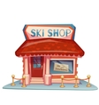 Ski shop building with bright banner vector image