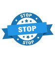 stop ribbon stop round blue sign stop vector image vector image