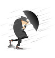 strong wind rain and man with hat and umbrella i vector image vector image