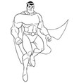 superhero flying and smiling line art vector image vector image