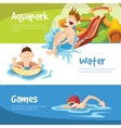 The cheerful boys rides on water hills vector image vector image