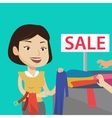 Young woman choosing clothes in shop on sale vector image vector image