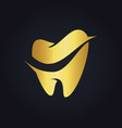 tooth dental gold logo vector image