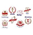 Retro needlework emblems icon set vector image