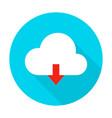 cloud upload flat circle icon vector image