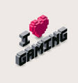 3d gaming pixel icon vector image vector image