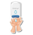 a sticker template with hands using alcohol gel