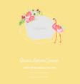 baarrival announcement flamingo photo frame vector image vector image