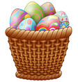 basket with easter eggs isolated on white backgrou vector image