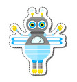 blue friendly cartoon bee robot character vector image vector image