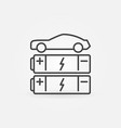 car with batteries line icon ev concept vector image vector image