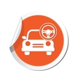 car with rudder icon orange label vector image