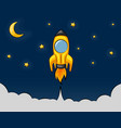 cartoon rocket flying in the starry sky vector image