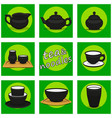 chinese utensils icon set tea and noodles vector image vector image