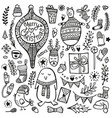 christmas doodle set cute hand drawn elements bear vector image vector image