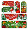christmas sale shop dicount tags vector image vector image