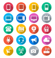 Communication device flat color icons vector image vector image