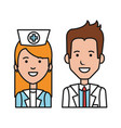 doctor nurse character staff medical care people vector image