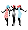 elegant silhouettes of three girls wearing vector image