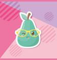 fresh pear fruit kawaii character vector image vector image