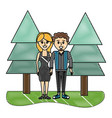 grated happy couple together with pine trees vector image vector image